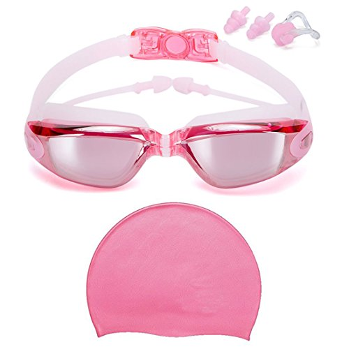 [Givovanni Swimming Goggles + Swim Cap, Swim Goggles No Leaking Anti Fog UV Protection Triathlon Swim Goggles with Free Protection Case Nose Clip Ear Plugs for Women Girls Youth Kids Childrens] (Swimming Costume For Womens Online)