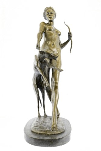 Handmade European Bronze Sculpture Massive 55 Lbs Roman Greek Mythology Diana and Hound Statue Art