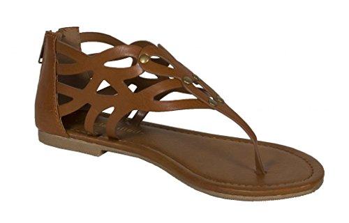 Sandalo Piatto Da Donna Lustacious Con Perizoma In Pelle Scamosciata Marrone Scuro