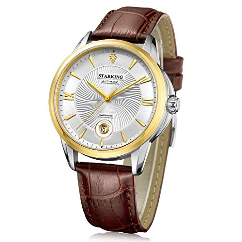 STARKING Watch Top Brand Luxury Automatic Mens Wrist Watch AM0196 Leather Watch Men Casual Style Fashion Waterproof Watches Scratch Proof Male