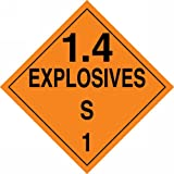 Accuform Signs MPL133VP50 Plastic Hazard Class 1/Division 4S DOT Placard, Legend ''1.4 EXPLOSIVES S 1'', 10-3/4'' Width x 10-3/4'' Length, Black on Orange (Pack of 50)