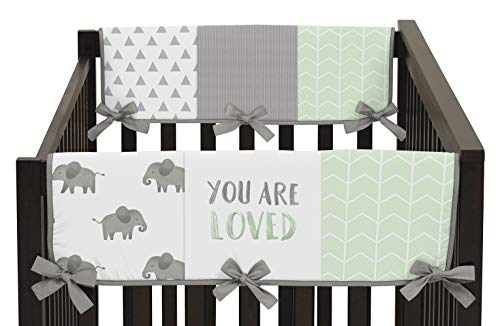 - Sweet Jojo Designs Mint, Grey and White Side Crib Rail Guards Baby Teething Cover Protector Wrap for Watercolor Elephant Safari Collection - Set of 2