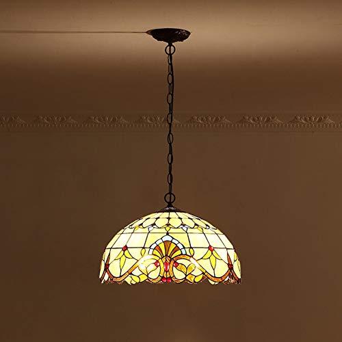 Vintage Tiffany Style Chandelier, Dining Living Room Pendant Lights Creative Retro Glazed Led Lighting Fixture-A diameter45cm(18inch)