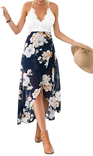 ab89a5427a88 BestWahl Damen Sommerkleid Lang Chiffon Böhmen Blumen Maxi Beach Kleid  Strandkleid Partykleid Vintage Kleid Blau Halter