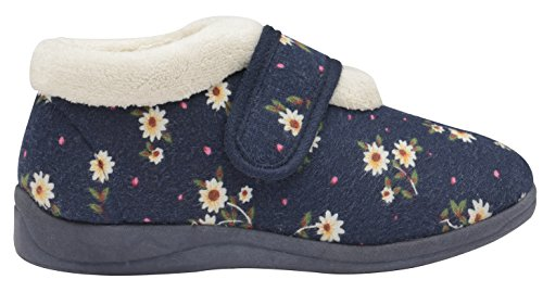 Femmes Dunlop Deloris Coupe Large Doublure Polaire Velcro Fermeture Chaussons Bottines florale bleu marine KT6ce