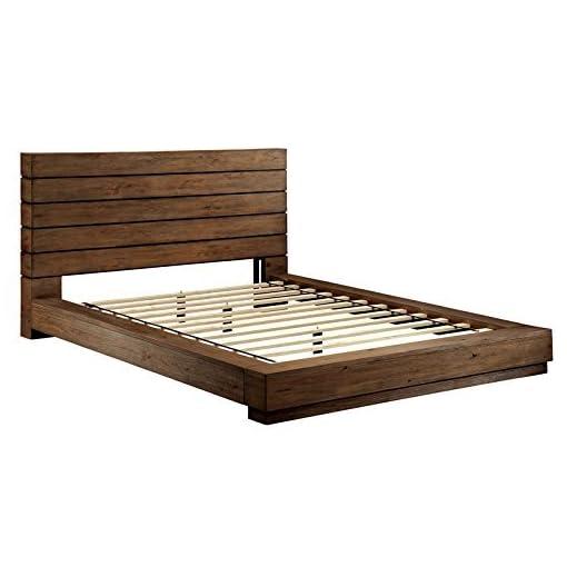 Bedroom 247SHOPATHOME Platform bed, King, Walnut farmhouse beds and bed frames