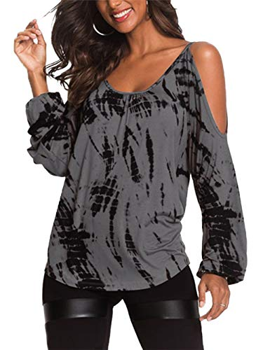 YOINS Women Cold Shoulder Long Sleeve T-Shirts Loose Casual Blouse Contrast Printed Cut Out Tops Gray XS