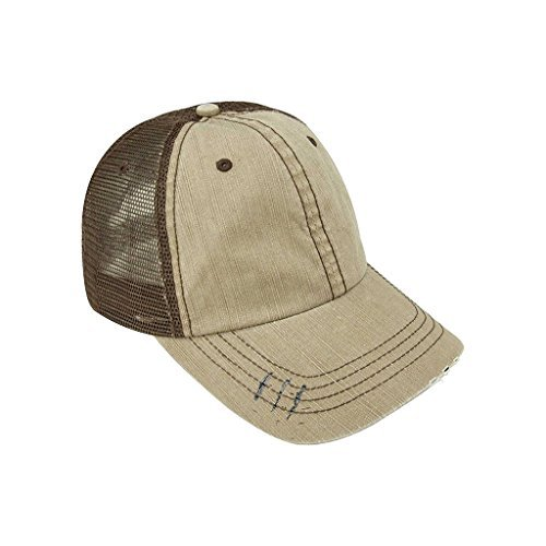Low Profile Special Cotton Mesh Cap-Tan with brown back - Tan Trucker Hat