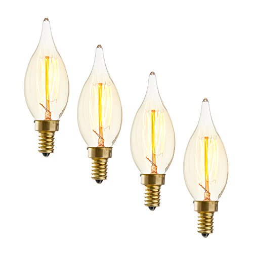 Flame Tipped Candelabra Light Bulb - Flame Tip Candelabra Bulbs, Edison Style, Vintage C10 Shape, Squirrel Cage Filament, Fully Dimmable, Warm White, 40W (E12), Brooklyn Bulb Co. Classon Design - Set of 4