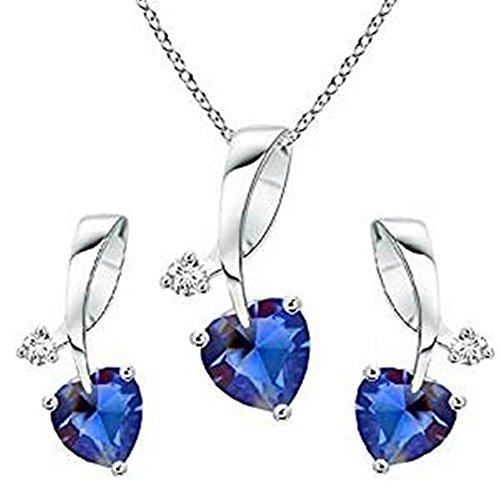 Lilu joyas–plata de ley 925chapado en platino blanco en forma de corazón azul zafiro de colgante y pendientes