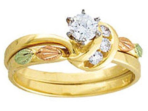 14K Black Hills Gold Womens Diamond Bridal Set (.34 tw) - Engagement Ring (.25 ct) and Wedding Ring (.09 ct) - Size - Set Black Jewelry Hills Diamond Gold