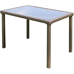 TANGKULA Wicker Table Outdoor Patio Balcony Pool Garden Tempered Glass Top and Metal Frame Accent Side Table Patio Dining Table Coffee Tea Table (rectangle)