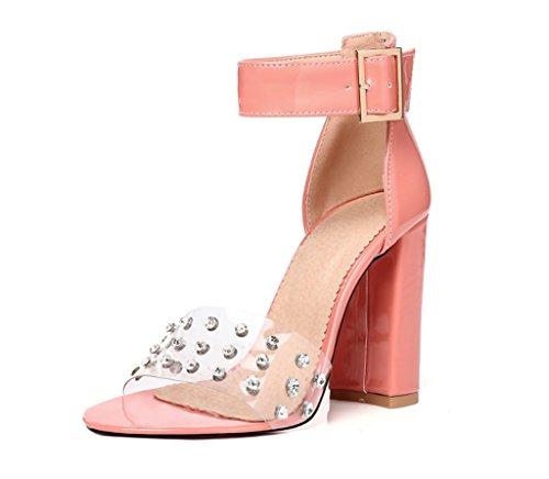 Mujeres Transparentes Peep Toe Sandals Tobillo Correa Bombas Tachonado Tacones Altamente Extra Tamaño Grande 44-48 Rosado