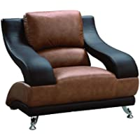 Global Furniture Wyatt Collection Leather Matching Chair, Brown/Dark Brown