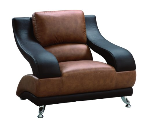 Global Furniture Wyatt Collection Leather Matching Chair, Brown/Dark Brown