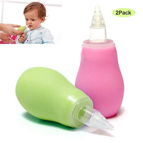 RabbitStorm Aspirador Nasal Para Bebés Safe Fast Gentle Nose Cleaner Suction Para Bebés De 1-36 Meses, (Verde+Rosa) 2Pack