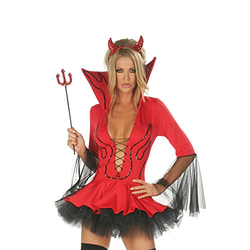 [Lisli® Women's Cosplay Halloween Masquerade Demon Devil Costumes Wild Clothes (Red)] (Angel And Demon Costumes)