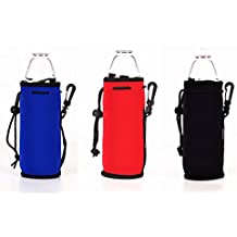 500ML (16.9 OZ) Neoprene Water Bottle Cooler Coolie Cover Holder Huggie Insulator Sleeve - 3 PCS (3, Red + Blue + Black)