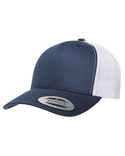 Navy Blue Classic Hat - Yupoong Retro Trucker Hat & 2-Tone Snapback - 6606, (Navy/White)