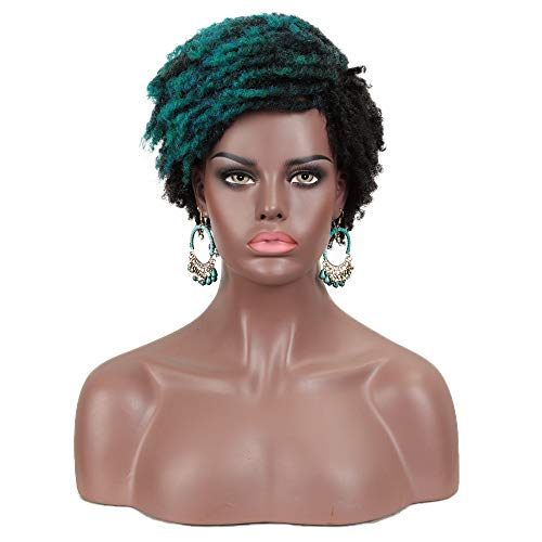 FASHION IDOL Synthetic Short Kinky Curly Wig Ombre Color Afro Twist Wig For African American Dreadlock 4C Wig Kanekalon Flame Retardant For Black Women (OMBRE GREEN, DYTD1B/DG1)