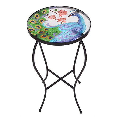 Homebeez Peacock Flower Mosaic Foldable Round Plant Stand Accent Side Table, Black Color Curve Iron Legs Outdoor Indoor, Height 22 (Mosaic Side Table)