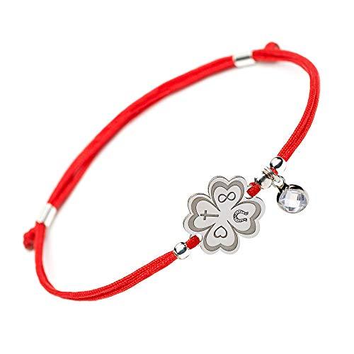 Lucky Handmade Good Luck Bracelet - 4 Leaf Clover Flower Engraved Sterling Silver Charm - Adjustable Friendship Inspirational Red String Evil Eye Protection Bracelets for Girls Womens Kids (Symbols) ()