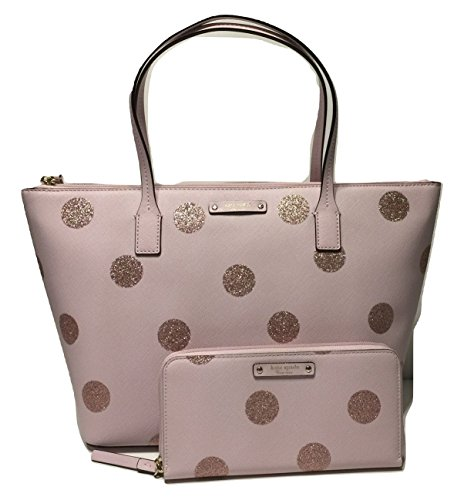 Kate Spade New York Haven Lane Hani WKRU4119 Pink Glitter Polka Dot plmdwn/dot (679) bundled with matching Neda Wallet by Kate Spade New York