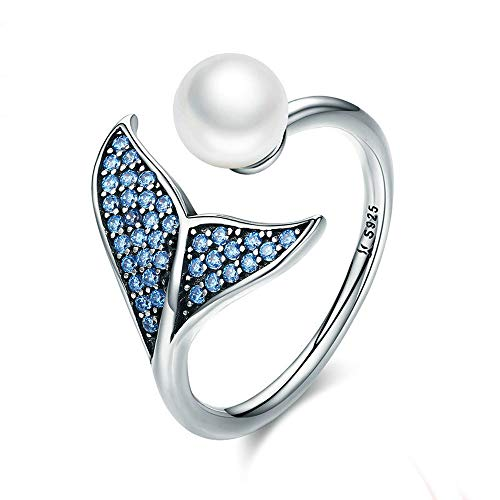 (S925 Sterling Silver Mermaid Tail Ring Blue Cubic Zirconia & Shell Pearl Adjustable Open Finger Rings for Women Girls)