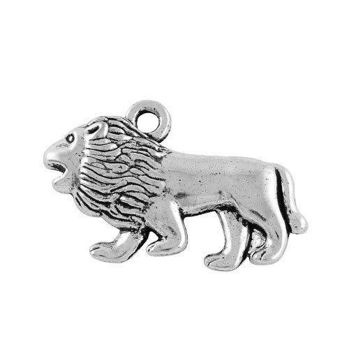Paquet 3 x Argent Antique Tibétain 29mm Breloques Pendentif (Lion) - (ZX02575) - Charming Beads