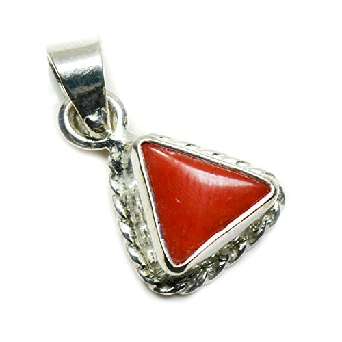 Red Coral Gemstone Pendant (Jewelryonclick Triangle Coral Pendant Charm 5 Carat Natural Genuine Gemstone 92.5 Sterling Silver)