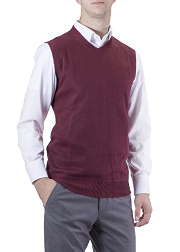 Alberto Cardinali Men's Solid Color V-Neck Sweater Vest SVS1 (XLarge, Burgundy)