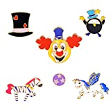 LINLAN Circus Enamel Laple Pin Sets 6 Pcs Cute Brooch Pin Set for Girls Women