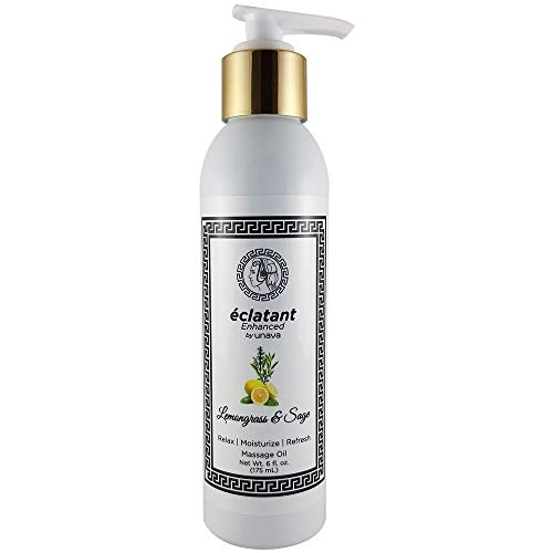 Lemongrass & Sage Massage Oil for Sore Muscles - Essential Oil Enhanced - Moisturize Relax & Comfort - Sensual Aromatherapy for Couples - Used by Massage Therapists - Sunflower & Baobab Oil