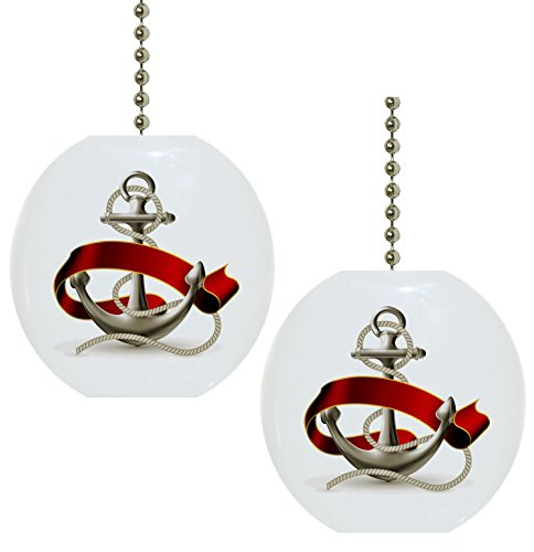 Set-of-2-Anchor-with-Red-Ribbon-Nautical-Solid-Ceramic-Fan-Pulls