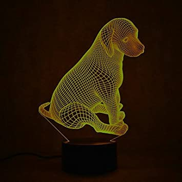 Amazon.com: 3d Lovely Puppy Luz Nocturna 7 cambio de color ...