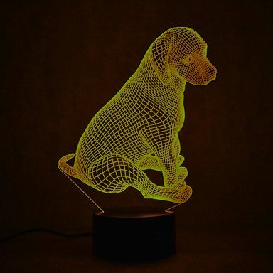 3D Lovely Puppy Night Light 7 Color Change LED Table Desk Lamp Acrylic Flat ABS Base USB Charger Home Decoration Toy Brithday Xmas Kid Children - Cable Pyramid Fixture