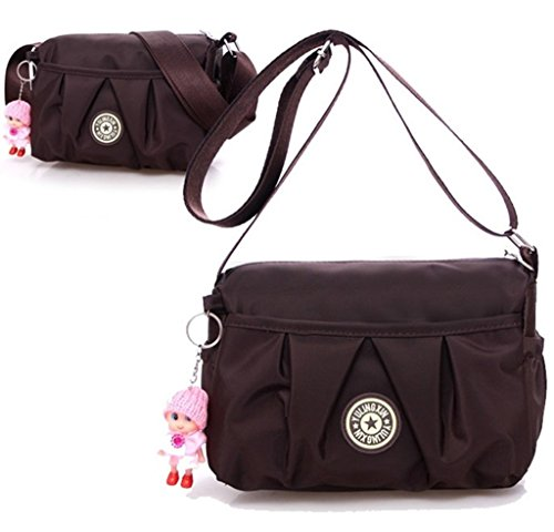 Girls Shoulder Bag Lightweight Mini Handbag Purse with Cute Doll Pendant Oxford Cloth Bag (Brown Single Stroller)