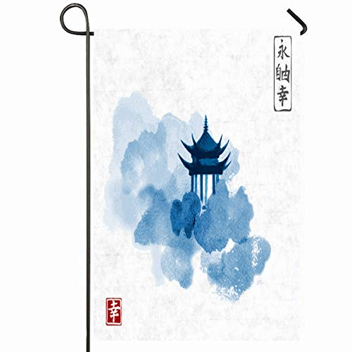 Ahawoso Outdoor Garden Flag 28x40 Inches Watercolor Painting Blue Pagoda Temple Forest Garden Trees On Artistic Asian Coloring Design Seasonal Home Decorative House Yard Sign