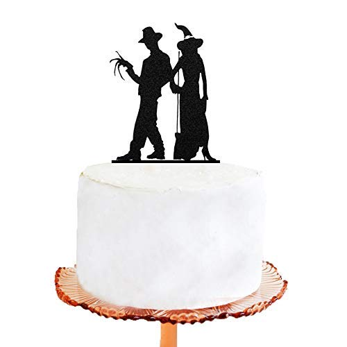 Wedding Cake Topper - Halloween Wedding Cake Topper, Freddy Krueger and a Witch Silhouette Wedding Cake Topper -