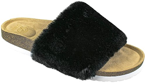 Chinese Laundry Ladies Faux-Fur Fashion Slide Sandal Flip Flop, Black, Size 8
