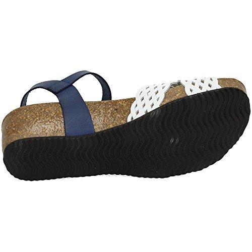 Dliro ,  Damen Sandalen Weiß-Blau