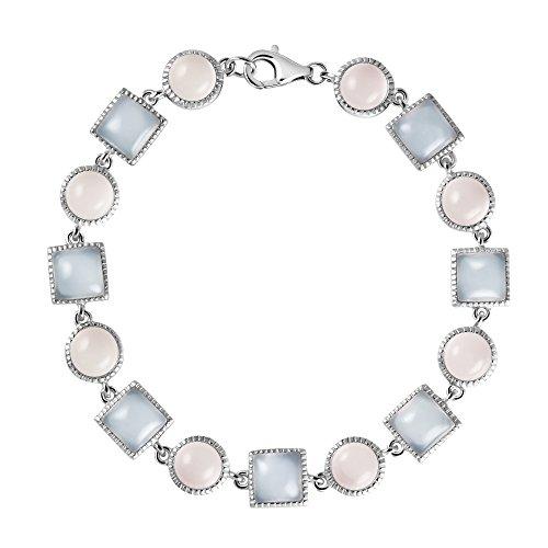 Franki Baker carré Bleu pâle Aqua calcédoine &Rond Rose Pâle-Quartz Rose argent Sterling 925 Bracelet Tennis, Longueur: 17 cm-Livré dans un joli écrin.