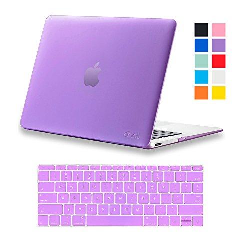 """Apple Macbook 12"""" Cover, Caka [2015 Newest Version]2 in 1 Ultra Slim Light Weight Rubberized Plastic Hard Case Cover and Keyboard Cover for Macbook 12 Inch with Retina Display A1534 - Purple"""