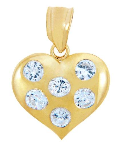 10 ct 471/1000 Or Coeur Avec Oxyde de Zirconium Pendentif