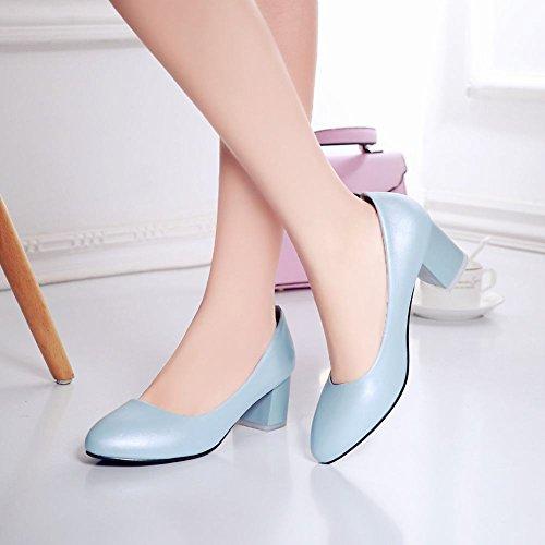 Mee Shoes Damen bequem runder toe chunky heels Geschlossen Pumps Blau