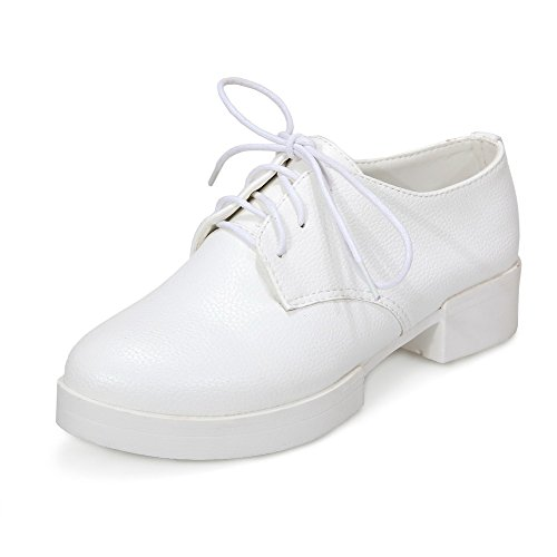Amoonyfashion Mujeres Low Heels Soft Material Solid Lace-up Round Closed Toe Bombas-zapatos Blanco