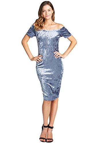 blue velvet midi dress - 9