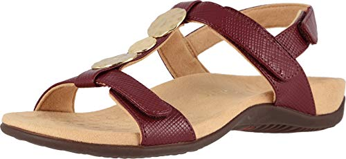 Vionic Women's Rest Farra Backstrap Sandal - Ladies Adjustable Sandals with Concealed Orthotic Support Fig Lizard 6 W - Wedge Concealed