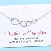 Mother and Daughter Necklace • Sterling Silver Double Infinity • Personalized Gift • Birthday . Christmas . Wedding • Infinite Love