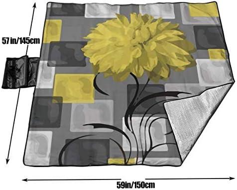 GuyIvan Coperta da Picnic Fiori Geometrici Grigio Giallo Sandproof Tote Mat da Spiaggia per Campeggio Escursionismo Erba Viaggiare 145X150 cm